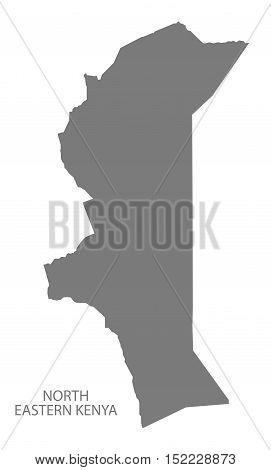 North Eastern Kenya Map grey illustration high res