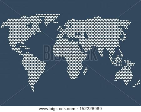 Dotted world map, stock vector illustration. Dot World map. Business background.