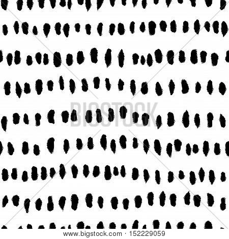 Abstract Black Strokes Seamless Pattern On White Background.