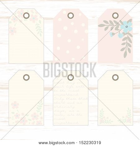 Romantic tags collection  with flowers, lettering.  Set of  holiday invitations. Shabby chic. Collection tags, cute tags, Set tags, printable tags