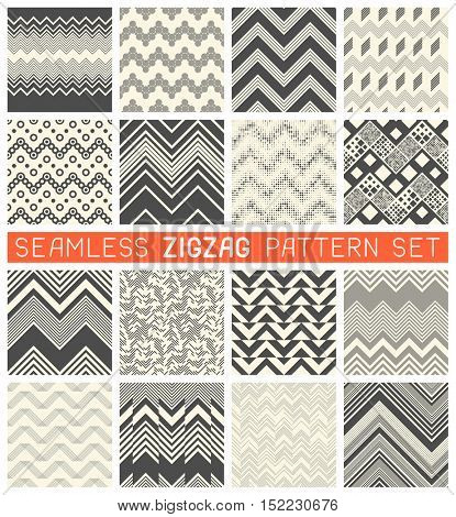 Seamless Zig Zag Pattern Set. Chevron Graphic Print Design. Abstract Zigzag Background. Wrapping Texture Collection. Vector Herringbone Ornament