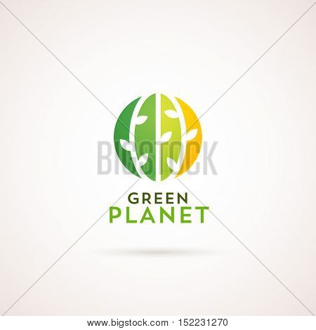 Modern natural logotype template. Green Planet label. Green circle with plants on it.