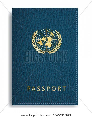 vector blue leather passport cover with united nations sign, abstract composition with UN sign