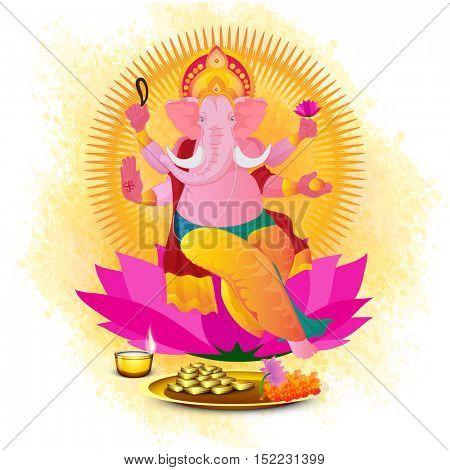 Hindu Mythological Lord Ganesha sitting on lotus flower. Creative vector illustration for Indian Festival, Happy Diwali celebration.