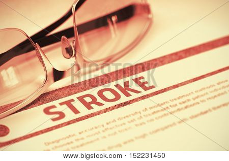 Stroke - Medicine Concept on Red Background with Blurred Text and Composition of Glasses. Stroke - Medical Concept with Blurred Text and Specs on Red Background. Selective Focus. 3D Rendering.