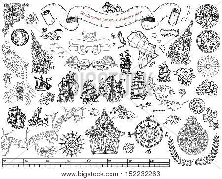 Graphic set with hand drawn elements for pirate map design on white. Vintage adventures and treasure hunt concept. Doodle drawings with old ships, wind compass, mystic and geographical symbols