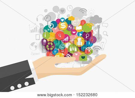 Business concept: Businessman showing cloud of application. Vector illustration.