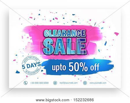 Abstract Poster, Banner or Flyer design of Sale with upto 50% Off.