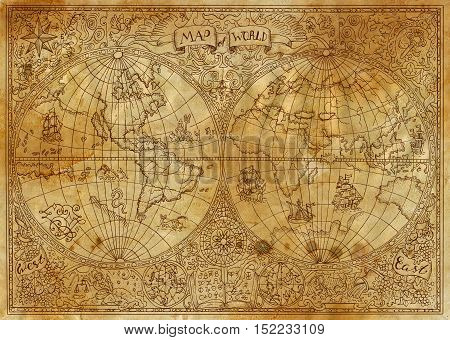 Vintage illustration of ancient atlas map of world on old paper. Pirate adventures, treasure hunt and old transportation concept. Grunge texture with graphic drawings and mystic symbols