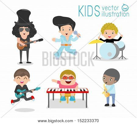 Kids and music, Children playing Musical Instruments, child and music, kids playing Musical, illustration of Kids playing different musical instruments, Musical, music, guitar drums bass saxophone.