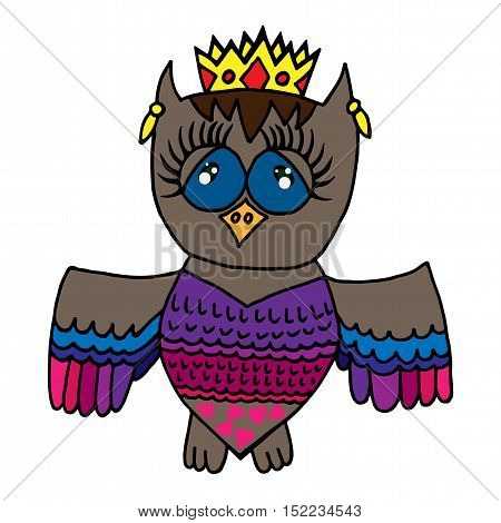 Colorful cute owl in crone. Picture for adult coloring book page design child magazine banner template.