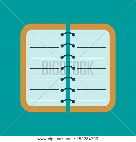 flat icon on stylish background spiral notepad notebook