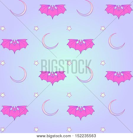 Kawaii Bats stars and moon crescent. Festive seamless pattern. Pastel goth palette. Cute girly gothic style art. EPS10 vector illustration