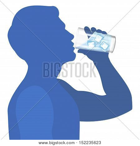 Man drink water. Concept of healthy lifestyle. Vector illustration