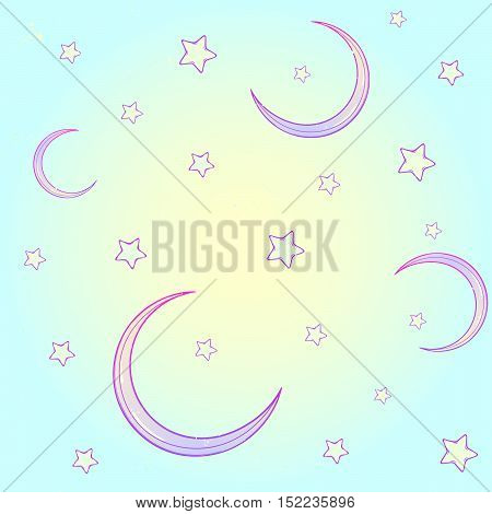Kawaii cartoon style night sky with stars and moon crescent. Festive seamless pattern. Pastel goth palette. Cute girly style art. EPS10 vector illustration