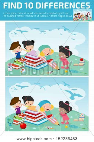 find differences,Game for kids ,find differences,Brain games, children game, Educational Game for Preschool Children, Game for child,find 10 differences, back to school, kids game, children game, game