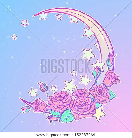 Kawaii Night sky composition with Roses bouquet, stars and moon crescent. Festive background or greeting card. Pastel goth palette. Cute girly gothic style art. EPS10 vector illustration