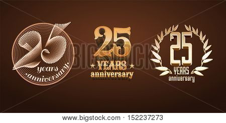 25 years anniversary set of vector logo icon number. 25th birthday marriage or graduation anniversary jubilee decoration design elements signs emblem symbol badge in gold