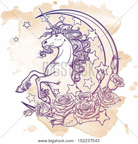Kawaii Night sky composition with Unicorn, roses, stars and moon crescent. Festive background or greeting card. Hand intricate sketch on grunge background. Girly vintage art. EPS10 vector illustration