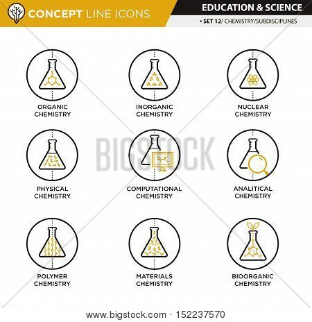 Chemistry subdisciplines icons in white isolated background used for school and university education