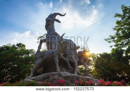 GUANGZHOU, CHINA - OCTOBER 4: Five Rams Statue the symbol of Guangzhou in Yuexiu Park on October 4, 2016 in Guangzhou, China.