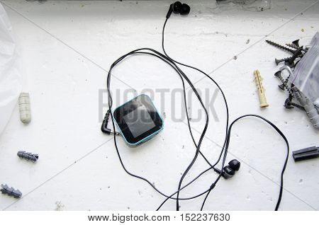 Mp3 player with headphones. Mp3 player with earphones