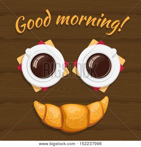 Good Morning! Breakfast Consisting Of Two Cups Of Coffee With A Croissant On Wooden Background. Funn