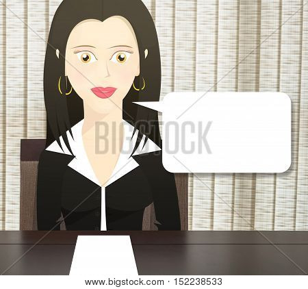 Character woman dressed as a business woman sitting at a table and a blank paper on the table. Character with speech bubble.