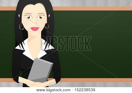 Female teacher character holding some books in front of the teacher's blackboard.