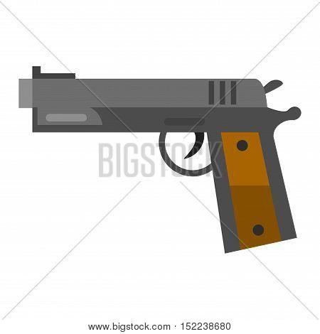Pistol gun security bullet and ammunition protection metal gun. Danger military weapon. Weapon series vintage wild west army handgun military pistol gun vector.