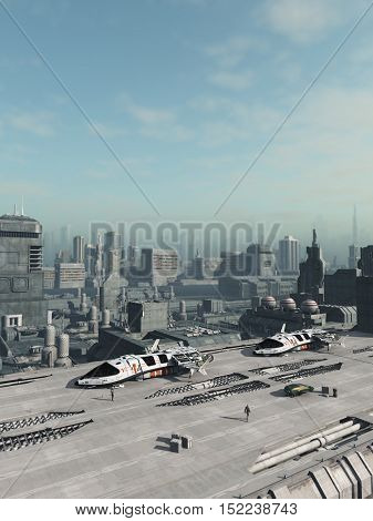 Science fiction illustration of space ships in a shuttle park in a future city, digital illustration (3d rendering)