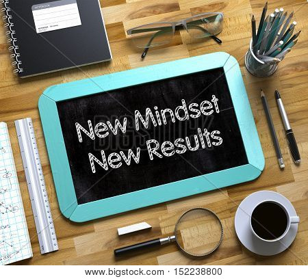 Small Chalkboard with New Mindset New Results. New Mindset New Results - Text on Small Chalkboard.3d Rendering.