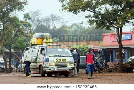 AFRICA, TANZANIA, MAY, 09, 2016 - Typical street scene in Arusha. Arusha is located below Mount Meru in the eastern branch of the Great Rift Valley and the capital of the Arusha Region.