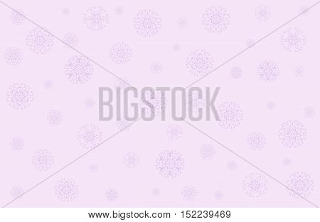 Christmas vector with snowflakes in gentle pink, lilac tones. Seamless festive pattern is perfect background for your text, illustration, packaging paper, wrapping packages, etc. Horizontal location.