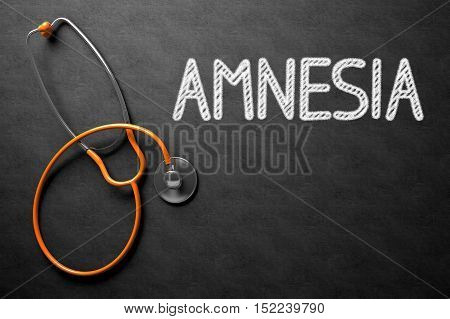 Medical Concept: Amnesia Handwritten on Black Chalkboard. Top View of Orange Stethoscope on Chalkboard. Medical Concept: Amnesia Handwritten on Black Chalkboard. 3D Rendering.