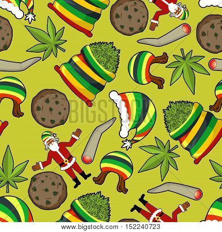 Rastaman Pattern. Rasta Santa Claus Ornament. Big Sack Of Cannabis. Bag Of Marijuana. Pile Of Green