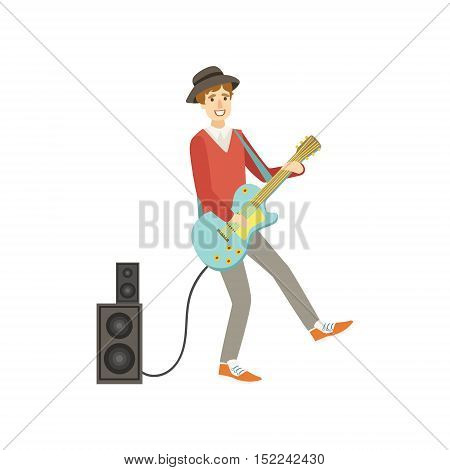 Guy Playing Electro Guitar, Creative Person Illustration. Flat Simplified Childish Style Cute Vector Illustration Isolated On White Background