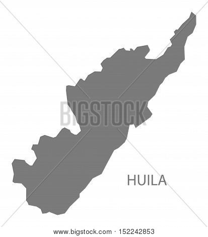 Huila Colombia Map in grey illustration high res