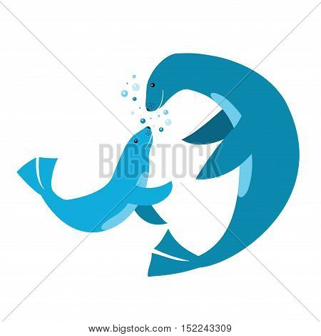 Vector illustration. Mom and baby blue fur seals on white background with air bubbles. Blue color. Simple form. Cartoons flat style. Water cute blue animals. Print for clothes. Oceanarium. Fur seals.