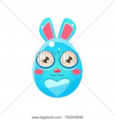 Blue Egg Shaped Easter Bunny. Bright Color Vector Christian Holyday Icon Isolated On White Background. Cute Childish Animal Character Design.
