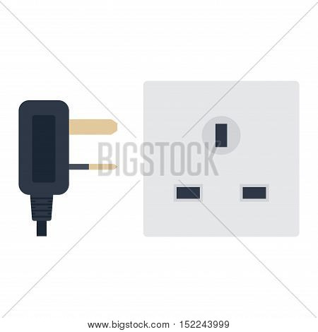 Electric outlet illustration on white background. Energy socket electrical outlet plug appliance interior icon. Wire cable cord connection electrical outlet plug