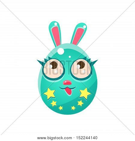 Blue Egg Shaped Easter Bunny With Eyelashes. Bright Color Vector Christian Holyday Icon Isolated On White Background. Cute Childish Animal Character Design.