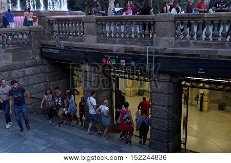 Barcelona, Spain - 24 September 2016: Barcelona metro entrance Catalunya. Placa de Catalunya is a major station located under the homonymous central square.