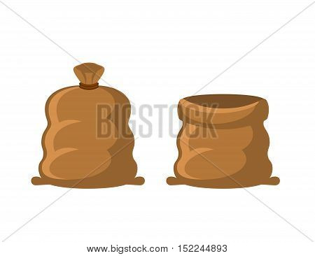 Empty And Full Sack. Brown Textile Bag On White Background
