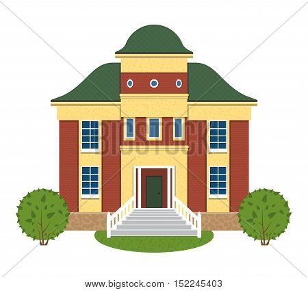 House with bushes grass. Brick-red walls with yellow elements. Dark green roof. front staircase. Central entrance tower. Vector illustration on white background. House exterior. private living house