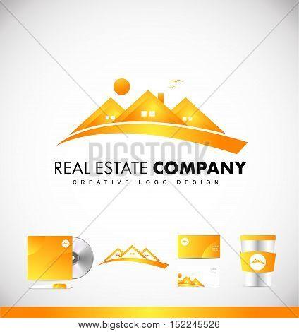Real estate orange house vector logo icon sign design template corporate identity