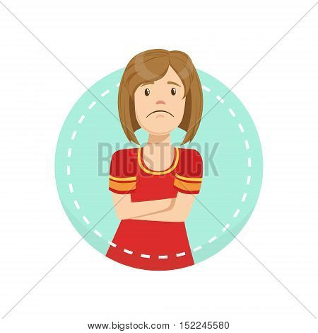 Disagreement Emotion Body Language Illustration. Emotional Facial Expression And Gesture With Man In Red T-shirt In Blue Round Frame .
