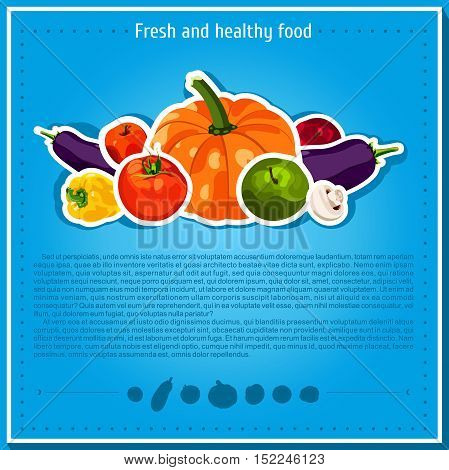 Vector backgrounds, banners about healthy eating. Vector vegetables elements for infographics. Isolated vegetables. Fresh and healthy food. Diet. Tomato, yellow pepper, mushroom, pumpkin.