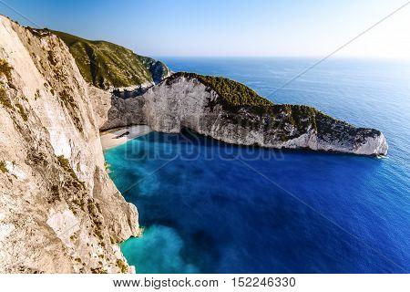 Amazing Navagio beach with shipwreck on Zakynthos island. Ionian sea Greece.