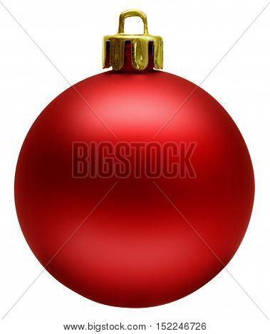 Red christmas ball isolated over white, clipping path